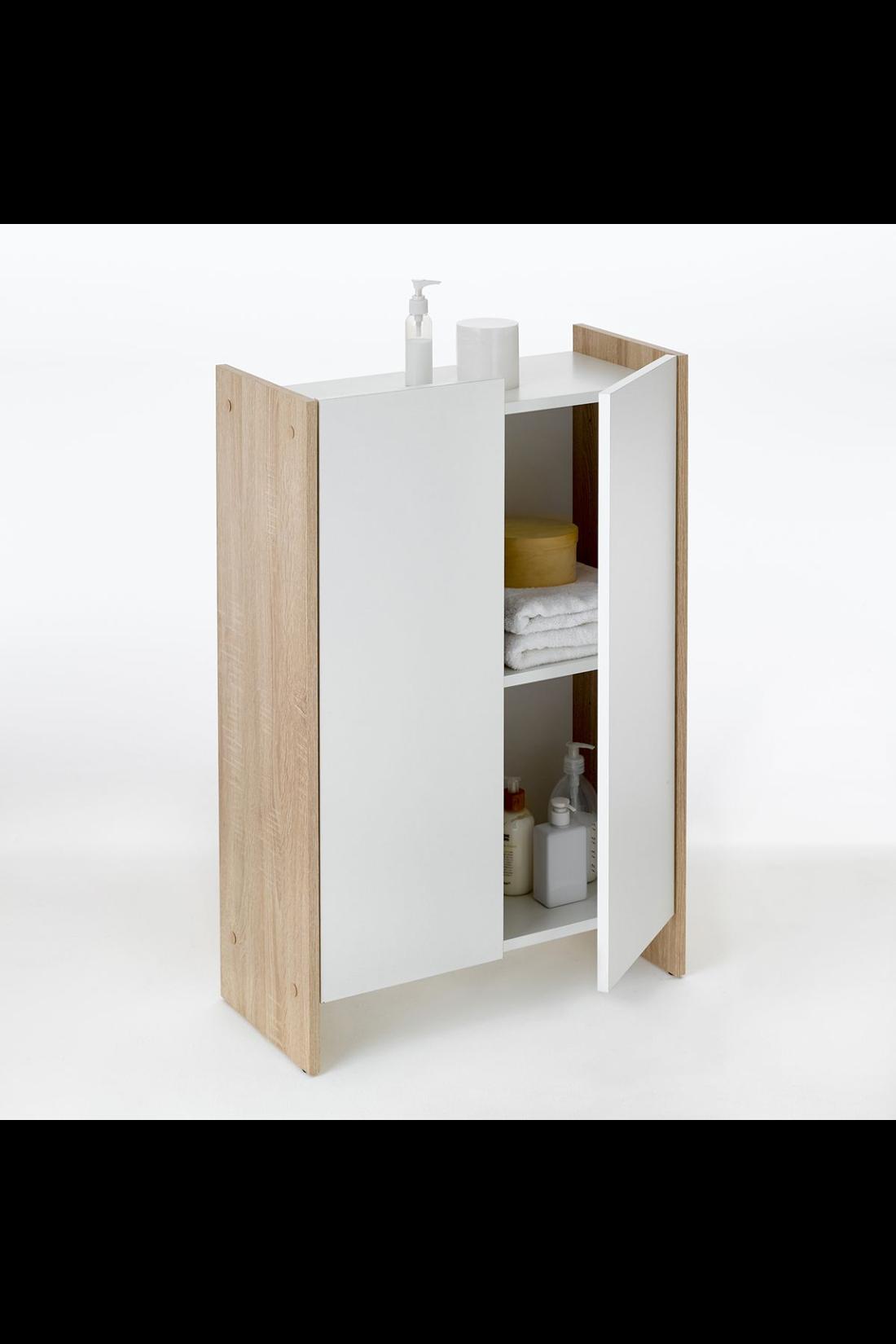 Meuble de salle de bain 2 portes mobler home - Bouton de porte meuble salle de bain ...