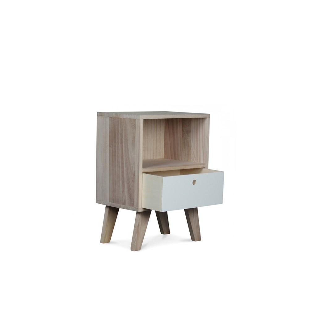 Table chevet scandinave bois 1 tiroir soula xs mobler home - Table bois design scandinave ...